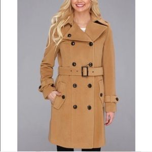 Cole Haan Double Breasted Belted Camel Wool Coat